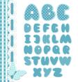 Retro scrapbook font blue color vector image vector image