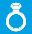 ring with gemstone icon white vector image vector image