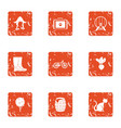 rural life icons set grunge style vector image vector image