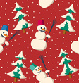 Seamless Christmas pattern with snowman vector image vector image