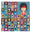 Set of people icons in flat style with faces 15 a vector image vector image