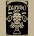 tattoo studio poster template skull with crossed vector image vector image