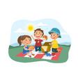 three young children enjoying a summer picnic vector image