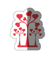 trees heart decorative shadow vector image vector image