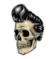vintage colorful rock singer skull concept vector image vector image