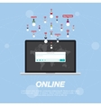 Web application on laptop and Icon for social vector image vector image