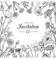 wildflower background wedding invitation vector image vector image