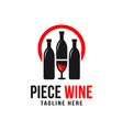 wine bottle and glass logo vector image vector image