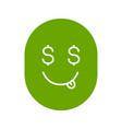 yummy dollar emoji glyph icon vector image