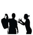 couple black silhouette with furious girl vector image