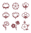 monochrome stylized pictures set of white cotton vector image
