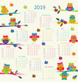 2019 calendar with cartoon owls vector image vector image