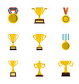 award icons set flat style vector image vector image