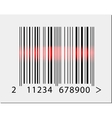 Barcode icon with red laser beam vector image