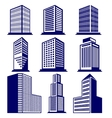 Buildings abstract icon set vector image