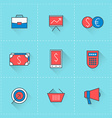 Business icons icon set in flat design style For vector image vector image