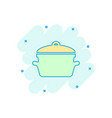 cartoon cooking pan icon in comic style kitchen vector image vector image