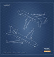 civil isometric aircraft in outline style vector image vector image