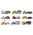 collection tow trucks flat faulty car loaded vector image vector image