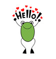 cute frog with love message art vector image