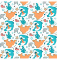cute marine seamless pattern with kawaii sharks vector image