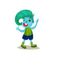 cute smiling boy troll with turquoise hair and vector image