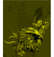 eagle head with floral background vector image vector image
