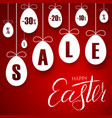 easter sale banner easter hanging eggs cartoon vector image vector image