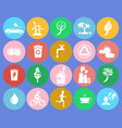 ecology saving themed round colorful icons vector image vector image