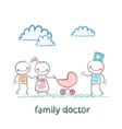 family doctor treats the father mother and baby vector image vector image