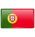 Flags Portugal in the form of a magnet on vector image vector image