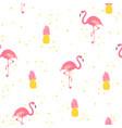 flamingo and pineapple seamless pattern fun vector image