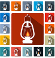 Flat Design Gas Lamps Icon Set vector image