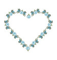 frame of beautiful flower and leafs in shape heart vector image