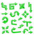 green 3d arrows set of different shiny web signs vector image vector image