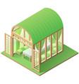 green arbor garden house isometric icon isolated vector image