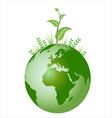 Green plant on earth vector image