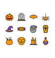 halloween icon set colorline style symbols for vector image vector image