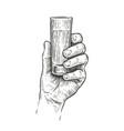hand holding a shot alcohol drink vintage vector image