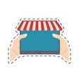 hands holding tablet shopping online cut line vector image