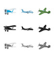 isolated object of plane and transport symbol vector image vector image