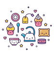 kawaii tea party items pastel cute isolated vector image