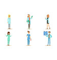 male and female doctors set professional hospital vector image vector image