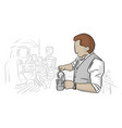 male barista working in coffee shop vector image