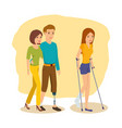 man next to girlfriend girl goes on crutches vector image