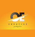oe o e letter modern logo design with yellow vector image vector image