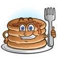 pancakes cartoon character holding a fork vector image vector image