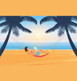 people relax and sunbathe on summer sea beach vector image vector image