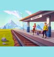 people waiting train on railroad platform railway vector image vector image