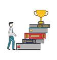 pile library books with trophy cup and vector image